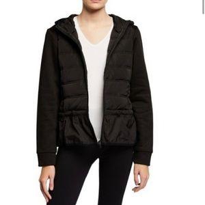 BCBGMaxazria Ruffle Hem Puffer Jacket Black